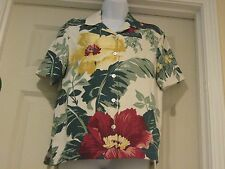Tommy Bahama Print 100% Silk Button Down Blouse Floral radiant color