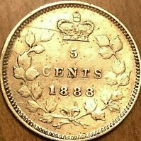 1888 CANADA SILVER 5 CENTS COIN