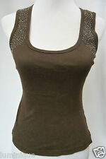 **CICEE** Beaded Brown Tank Top 8 S Stretch Blouse
