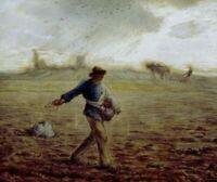 """The Sower Jean-Francois Millet Fine Art Print on Canvas Painting Giclee 12"""" x 12"""