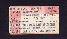 Original 1986 Zz Top concert ticket stub Las Cruces Nm Afterburner Tour