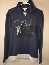 Calvin Kelin Jeans Hoodie Sweatshirt Men's Size Small Spell Out Logo RARE Blue