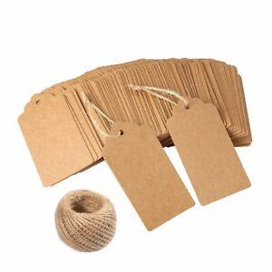10/25/50/100 Scallop Rectangular Kraft Gift Tags Paper Card Label + Free Strings