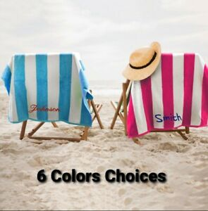 """Personalized Monogrammed Striped Cabana Beach Towel 28"""" x 60"""""""