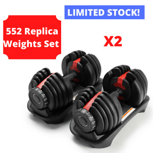 2x REPLICA 552 Selecttech Adjustable Dumbbells (5-52.5lbs /2.5-24kg) (PAIR)