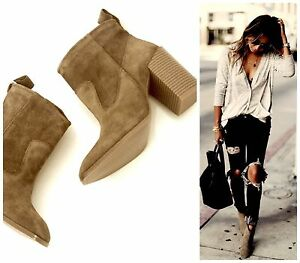 🌿 ZARA BOOTS SUEDE LEATHER CHELSEA BOOTS BLOCK HEEL ANKLE BOOTS UK 5 EUR 38 NEW
