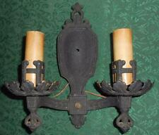 Antique Victorian Gothic Black Cast Iron Double Arm Wall Sconce
