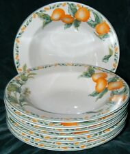 Set Of 8 Soup Bowls Avon Julie Pople Country Fruit Collection Oranges