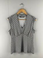 Basque Womens Black White Stretchable V Neck Sleeveless Blouse Top Size 12