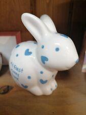 """My First Money Bank"" Ceramic Baby Boy Blue Bunny"