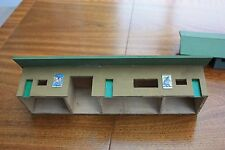 OO Guage handmade wooden station green roof 10.5 ins long 2 ins tall posters on