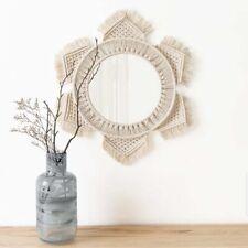 Hanging Wall Mirror with Macrame Fringe  Round Boho Mirror Art Decor