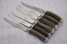 Six Large Baslow Stag/Antler Handle Steak Knives Made Sheffield England