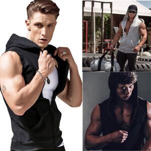 Men Sleeveless Zipper Hoodie Hooded Workout Gym Training Sport Vest Tank Top