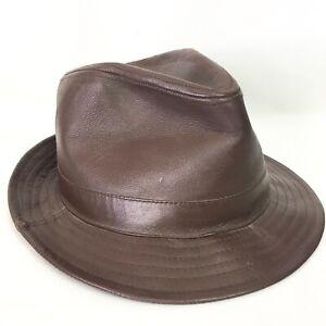 Henschel Hat Company Mens Large Fedora Hat Genuine Leather Brown