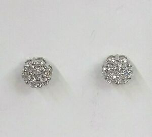 Genuine 9ct White Gold Diamond Simulant Cluster Earrings (not filled or plated)