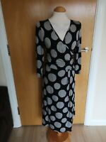 Ladies PER UNA Dress Size 14 Black Grey Spotted Stretch Faux Wrap Smart Casual