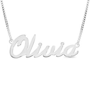 925 Sterling Silver OLIVIA Name Necklace Womens Girls Pendant Gift Ready Stock