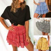 Flared mini women boho maxi dress high waist pleated a line floral new