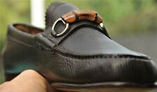 GUCCI Mens dark chocolate  brown bamboo bit Leather Loafers sz 8 (US 9.5 )