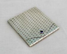 Pretty Silver Basket Weave Stamp Case Sapphire Clasp Continental Austria Russian