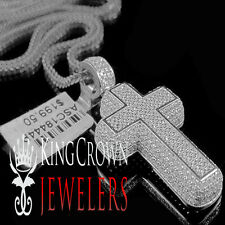 Mens Pave Charm 10K White Gold On Silver Simu Diamond Cross 3D Pendant + Chain