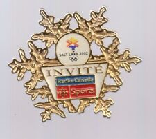 2002 Radio-Canada Sports Salt Lake Olympic Pin Invite Press Media Gold LE 300