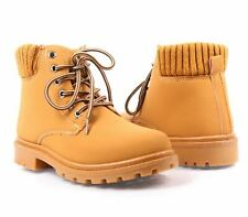 Tan Color Casual Mid-Calf Military Lace Up Youth Girls Combat Kids Boots Size 2