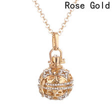 Crystal Essential Oil Diffuser Locket Necklace Aromatherapy Chime Ball Pendant