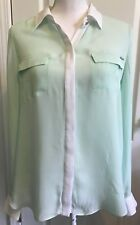 WHITE HOUSE BLACK MARKET Womens SILK Top Blouse Long Sleeve Size 10 Mint GREEN