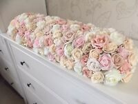 Long Low Wedding Top Table Flower Arrangment - Compact Roses Blush Ivory pink