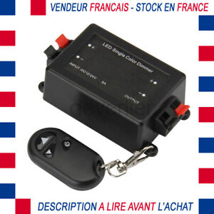 INTERRUPTEUR VARIATEUR DIMMER 0 - 12V A 24V DC 8A AVEC TELECOMMANDE RUBAN LED