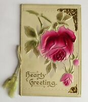 Antique Valentine Greeting Card Embossed Rose Flower Vintage Print