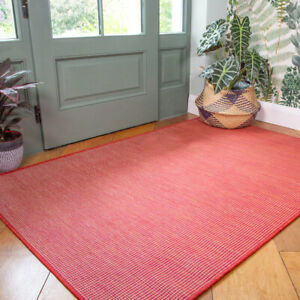 Plain Red Washable Rug Plastic Flatweave Outdoor Rugs Zero Pile Hall Runner Mat
