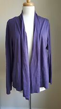 NWTs COLDWATER CREEK Drape-Front Cardigan Sweater, Purple, SZ XL, Silk/Cotton