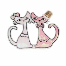 Sequin Pink Cat Friends (Sew On) Embroidery Applique Patch Sew Iron Badge