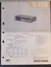 Sony TC-FX20 registratore a cassette Servizio di Riparazione Officina Manuale (copia originale)