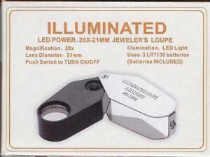 Illuminated LED Power 20X-21mm Jeweler's Loupe