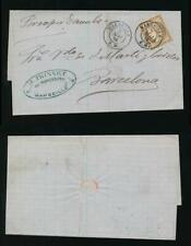 FRANCE 1876 BOITE MOBILE BARCELONA SHIP DANUBE PER VAPOR + MARSEILLE BM on 30c