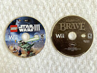 Lot 2 Wii NINTENDO Video Games LEGO STAR WARS III 3 The Clone Wars & BRAVE Loose
