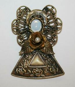 KC Kenneth Cole Antiqued Bronze Metal Angel Brooch with Moonstone & Pearl J207GS