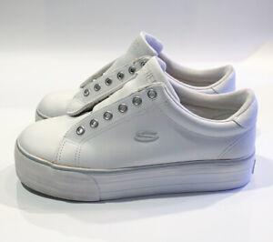 Vintage 90s SKECHERS Platform Chunky White Leather Sneakers Women's Sz 8.5
