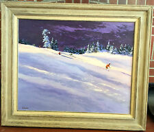 "Harry Swanson Signed Oil Skiing Mountains Huge 38"" x 32"" Framed"