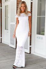 Elegant White Boho Bardot Lace Fishtail Wedding Dress, NEW, Size 10