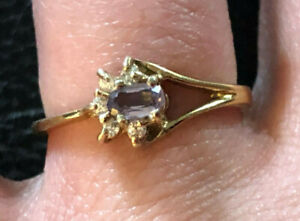 Gold Sterling Silver Ring Amethyst 3x5mm CZ Accents Dainty Sz 8 1.9g 925 #817