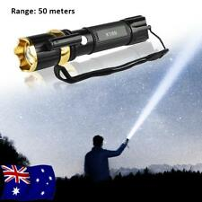Tactical Military 99000LM T6 LED Flashlight Torch Lamp Red Laser AU