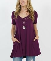 Lydiane Women's V-Neck Short-Sleeve Pocket Tunic (Purple, S)