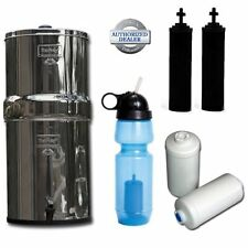 Travel Berkey Water Filter System, w/2 Black Filters, 2 Fluoride & Sport Bottle
