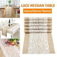 10x Hessian Burlap Lace Table Runner Tablecloth for Rustic Wedding Party Decor