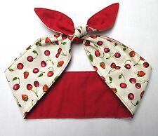 CHERRY print Head Scarf Rockabilly dolly bow red white CHERRIES Pinup Hair Wrap